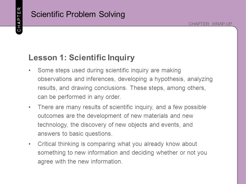 Scientific Problem Solving