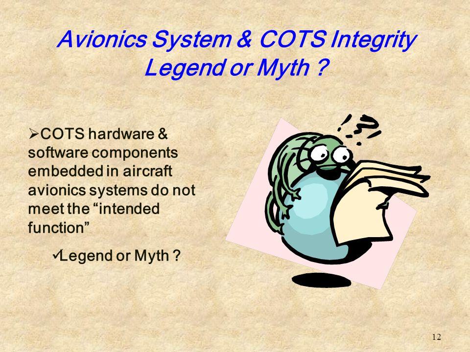 Avionics System & COTS Integrity Legend or Myth