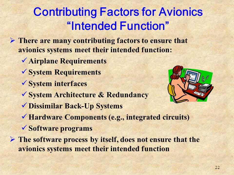 Contributing Factors for Avionics Intended Function