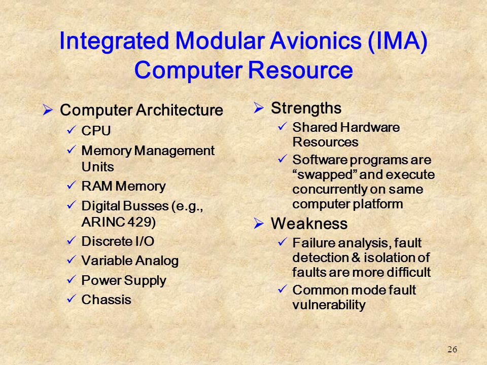 Integrated Modular Avionics (IMA) Computer Resource