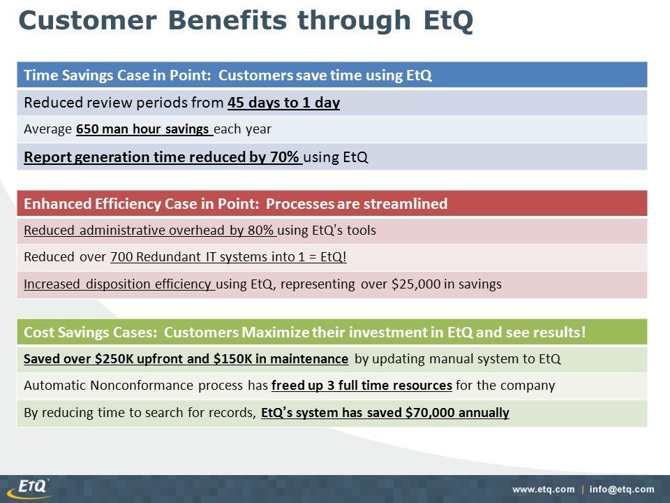 Customer Benefits through EtQ