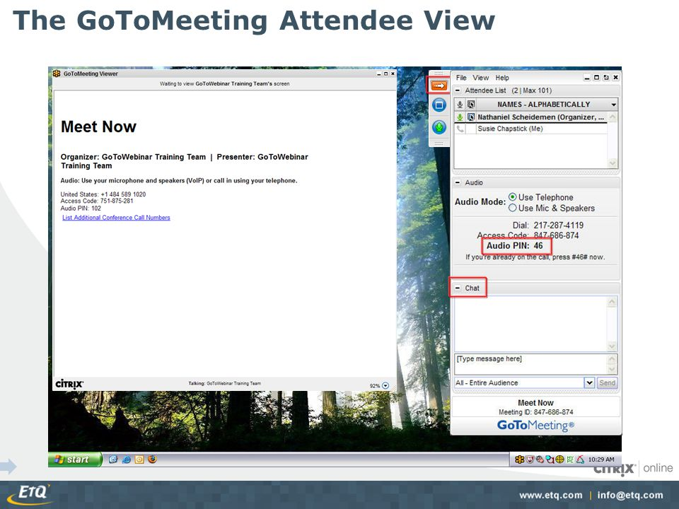 The GoToMeeting Attendee View