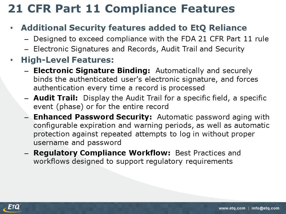 21 CFR Part 11 Compliance Features