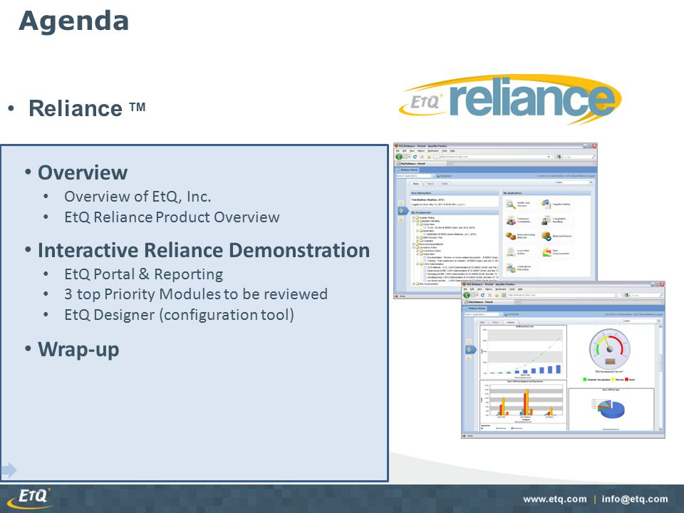 Agenda Reliance TM Overview Interactive Reliance Demonstration Wrap-up