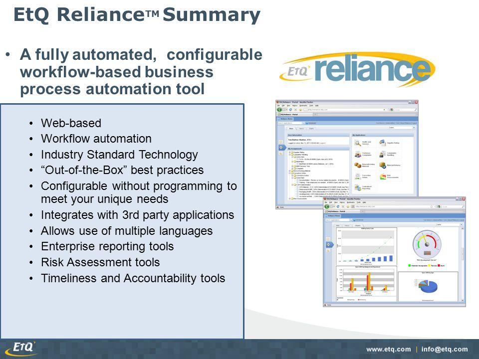 EtQ RelianceTM Summary