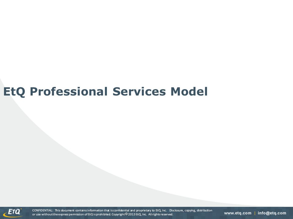 EtQ Professional Services Model