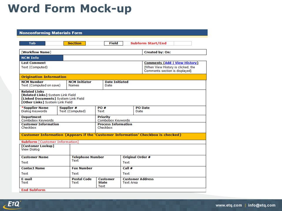 Word Form Mock-up