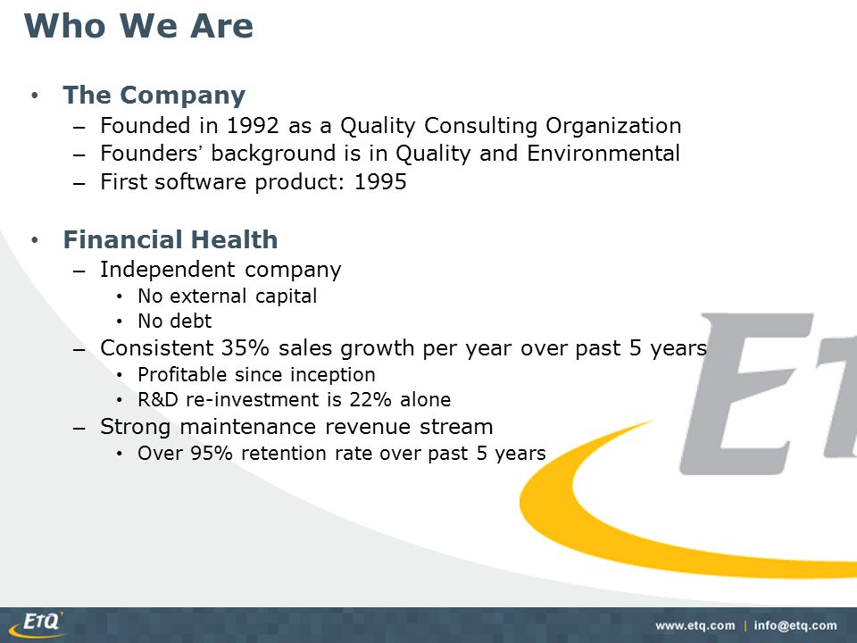 Who We Are The Company Financial Health