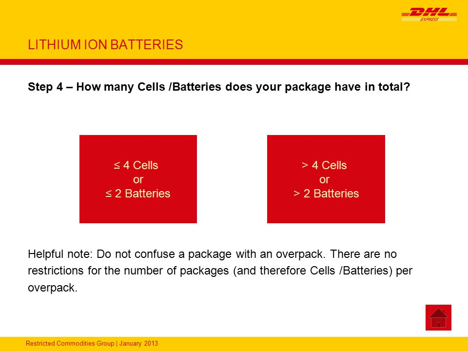 LITHIUM ION BATTERIES Step 4 – How many Cells /Batteries does your package have in total