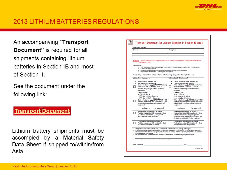 2013 LITHIUM BATTERIES REGULATIONS
