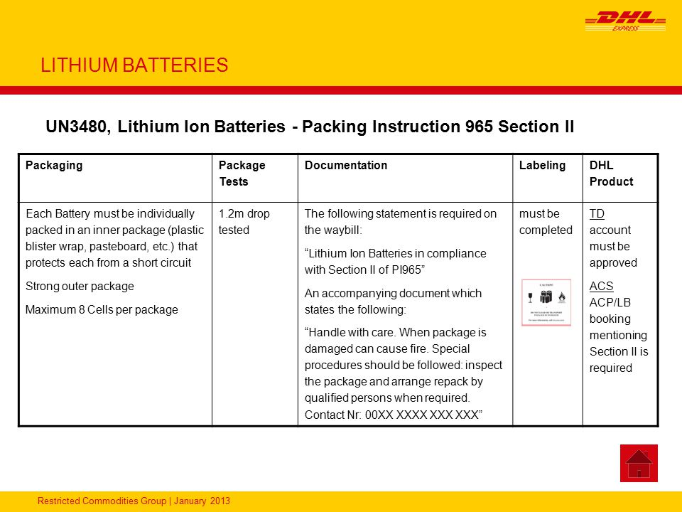 LITHIUM BATTERIES UN3480, Lithium Ion Batteries - Packing Instruction 965 Section II. Packaging. Package Tests.