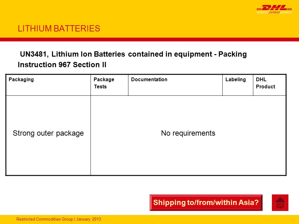 Shipping to/from/within Asia