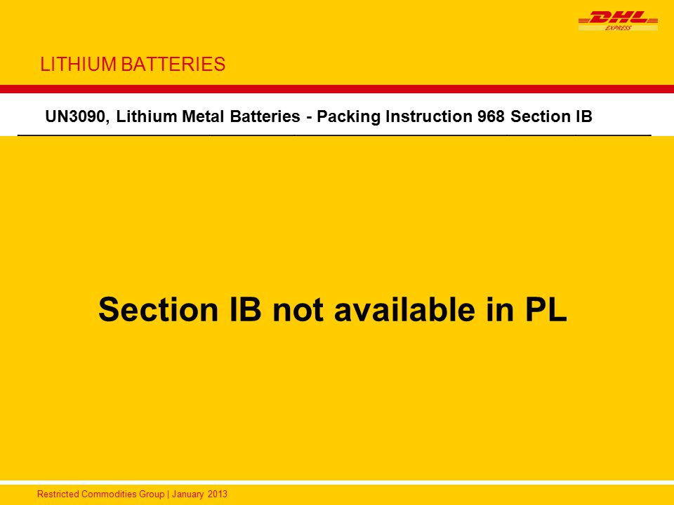 Section IB not available in PL