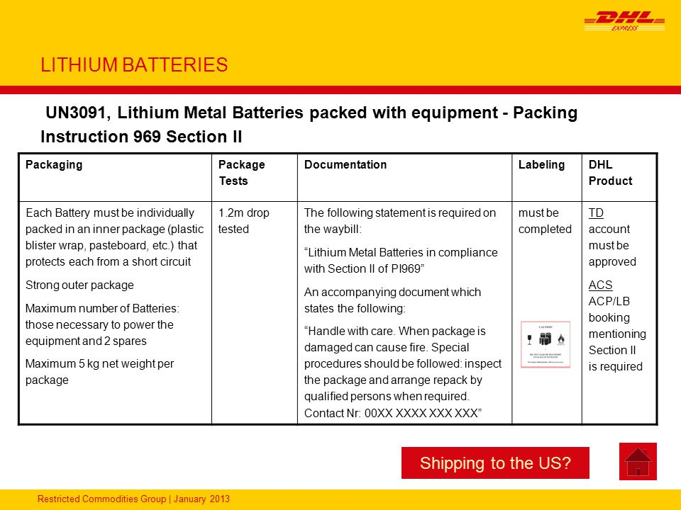 LITHIUM BATTERIES UN3091, Lithium Metal Batteries packed with equipment - Packing Instruction 969 Section II.