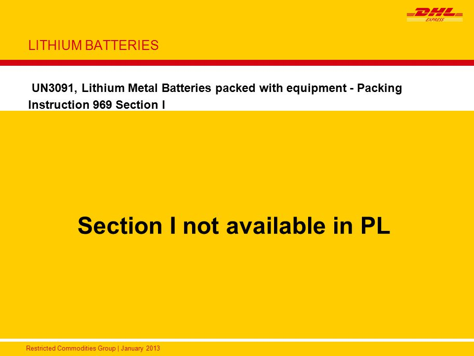 Section I not available in PL