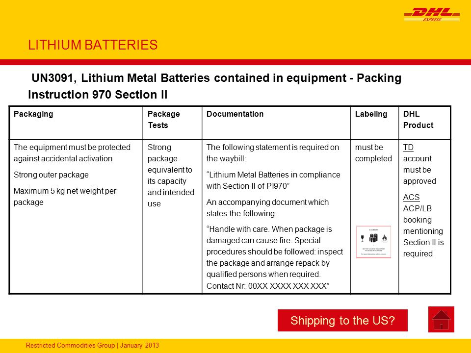 LITHIUM BATTERIES UN3091, Lithium Metal Batteries contained in equipment - Packing Instruction 970 Section II.