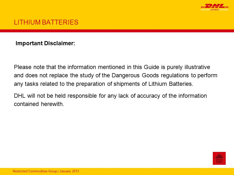 LITHIUM BATTERIES Important Disclaimer: