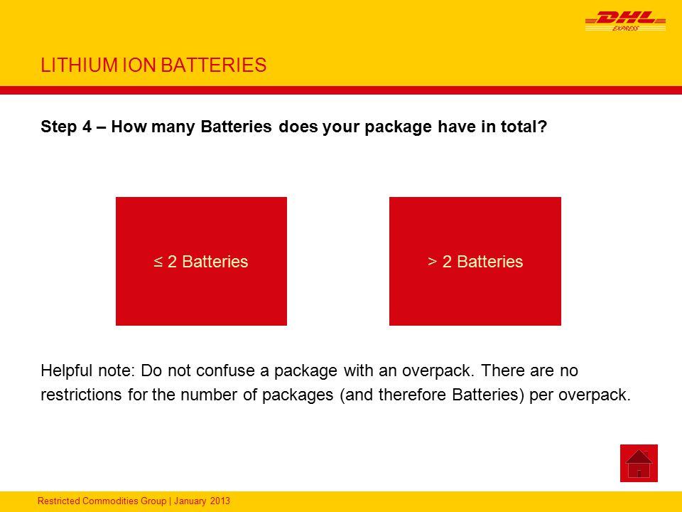LITHIUM ION BATTERIES Step 4 – How many Batteries does your package have in total