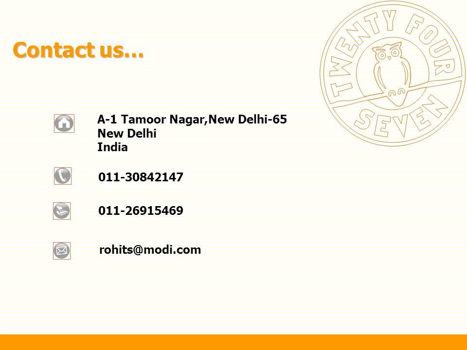 Contact us… A-1 Tamoor Nagar,New Delhi-65 New Delhi India 011-30842147