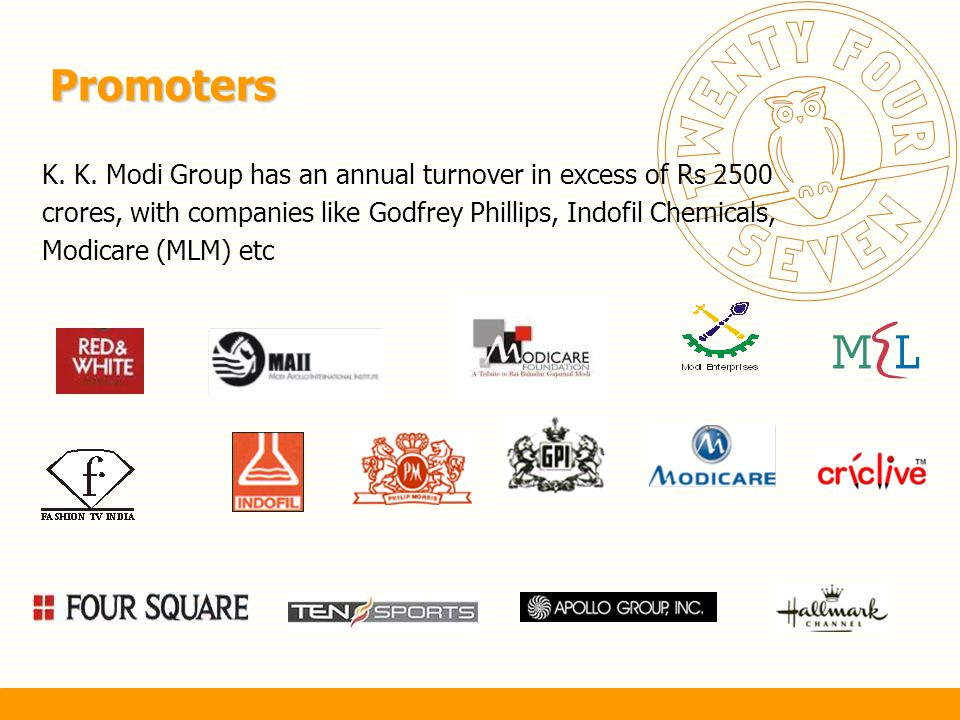 Promoters K. K. Modi Group has an annual turnover in excess of Rs 2500