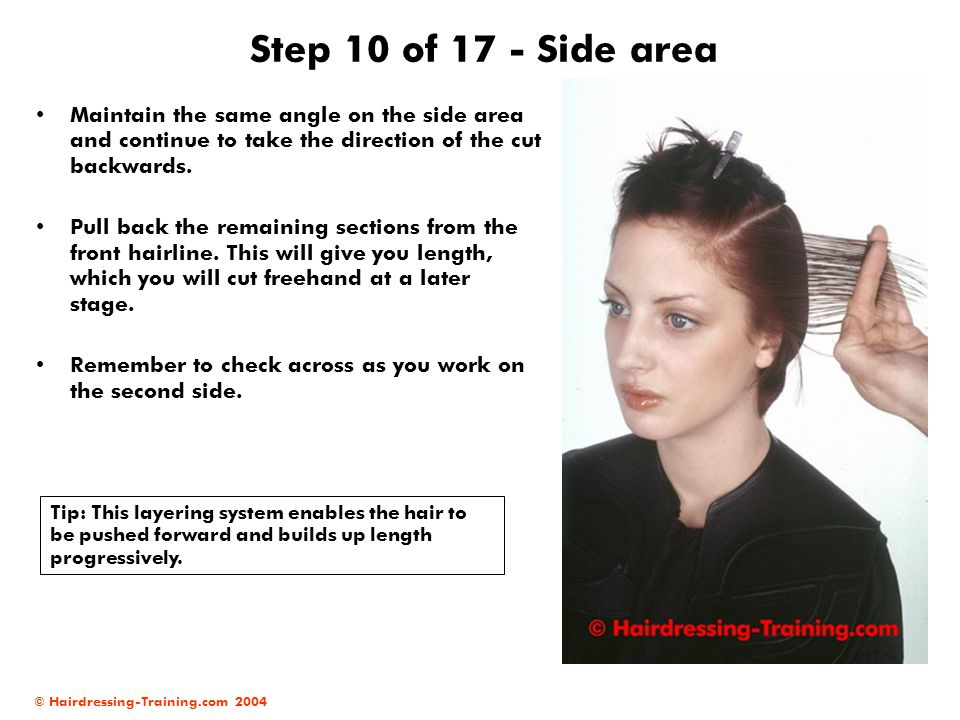 Step 10 of 17 - Side area Maintain the same angle on the side area and continue to take the direction of the cut backwards.