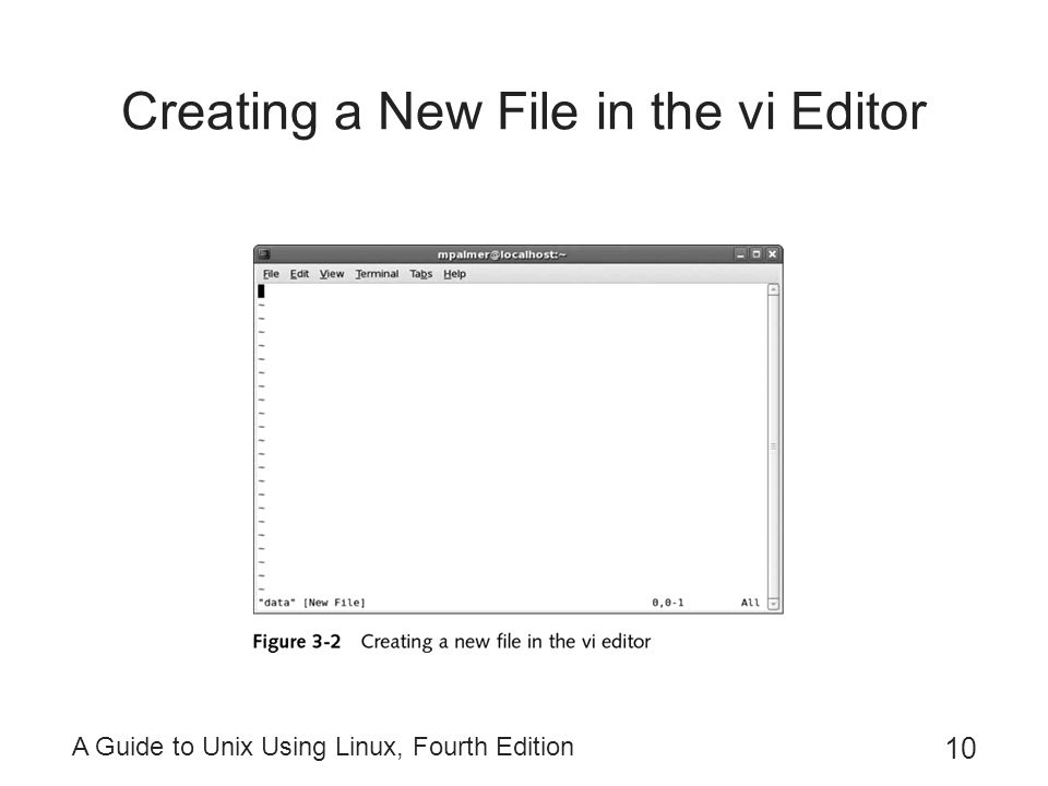 Creating a New File in the vi Editor