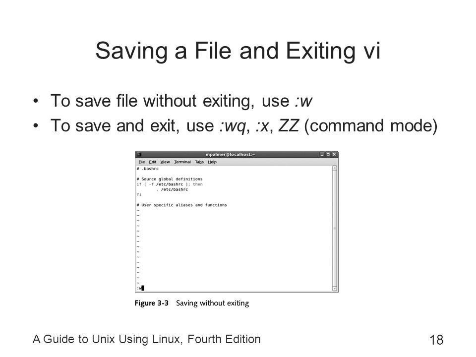 Saving a File and Exiting vi