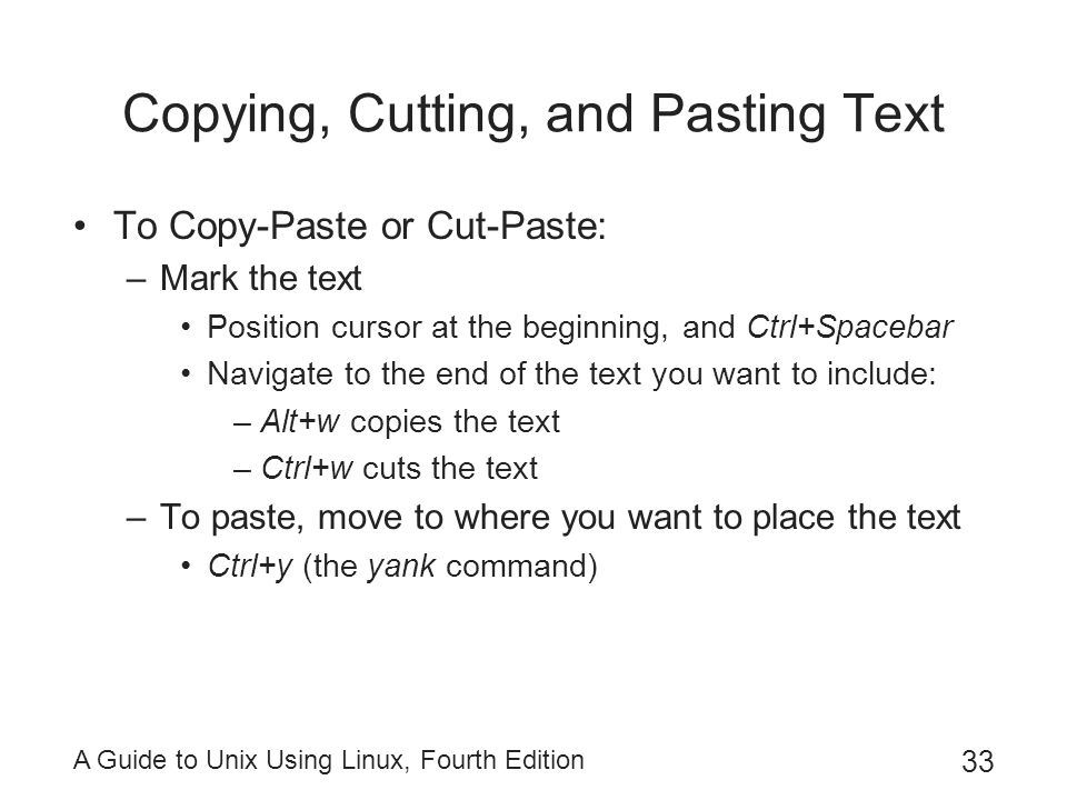 Copying, Cutting, and Pasting Text