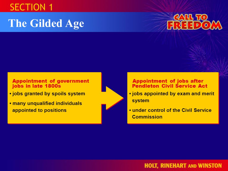 The Gilded Age SECTION 1 Appointment of government jobs in late 1800s