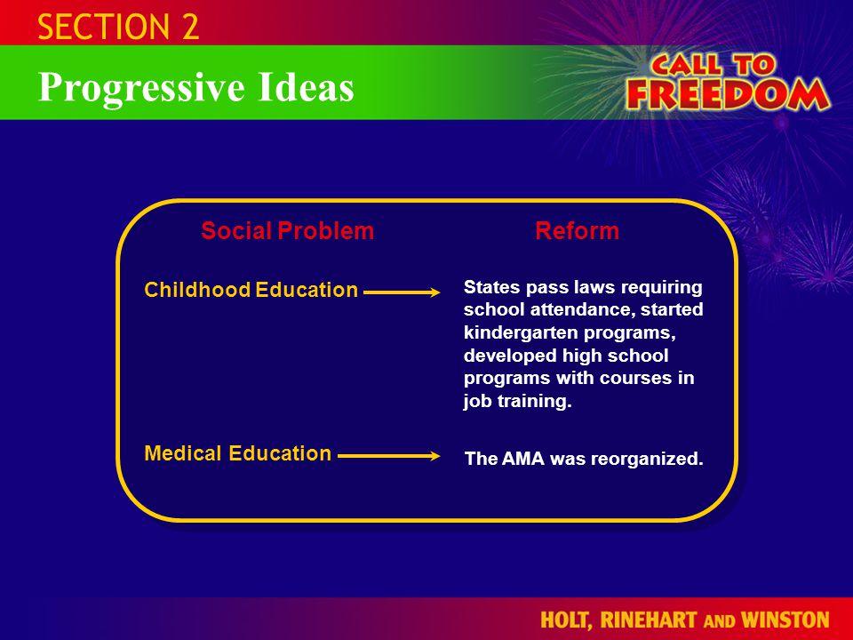 Progressive Ideas SECTION 2 Social Problem Reform Childhood Education