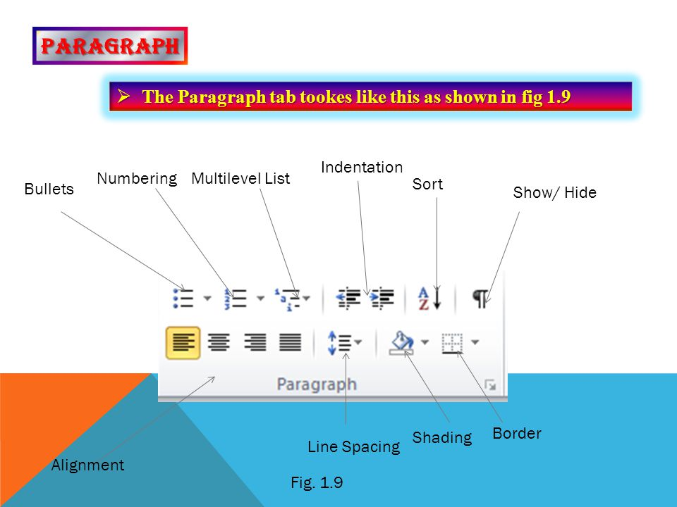PARAGRAPH The Paragraph tab tookes like this as shown in fig 1.9