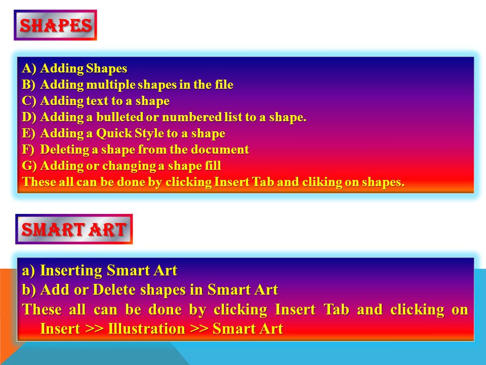 shapes Smart art Inserting Smart Art Add or Delete shapes in Smart Art