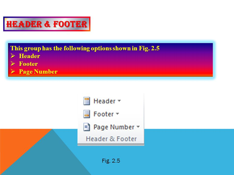 Header & footer This group has the following options shown in Fig. 2.5