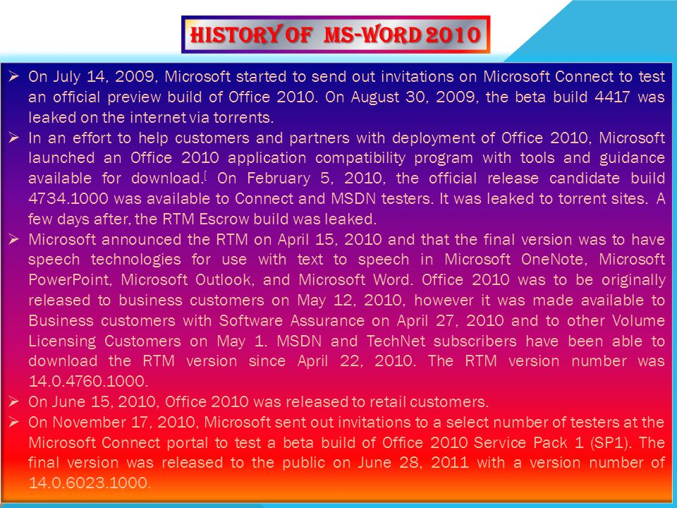 History of MS-WORD 2010