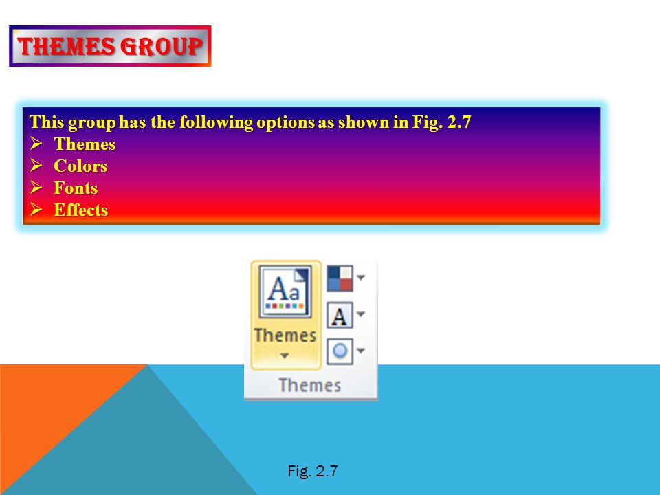 Themes group This group has the following options as shown in Fig. 2.7