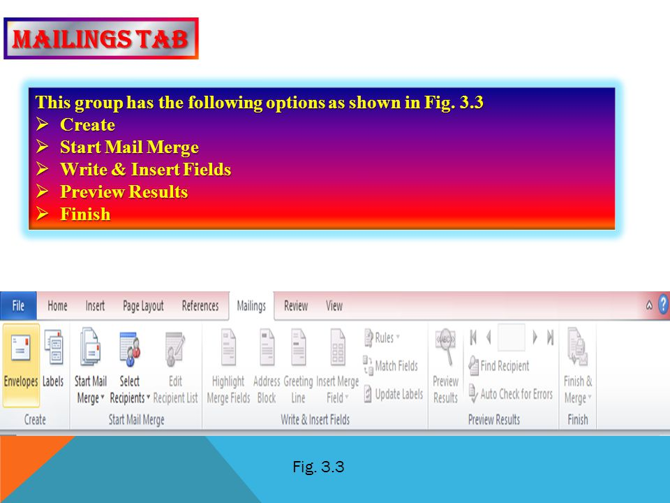 Mailings tab This group has the following options as shown in Fig. 3.3