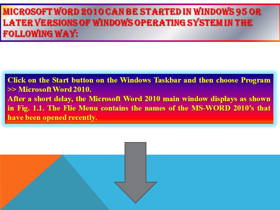 Microsoft Word 2010 can be started in Windows 95 or later versions of windows operating system in the following way:
