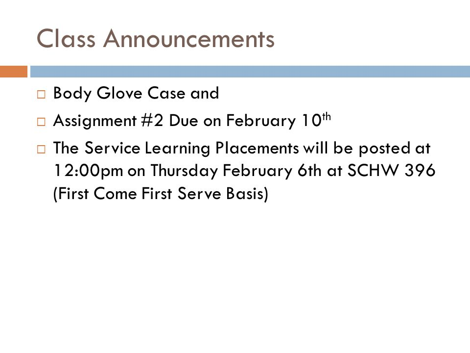 Class Announcements Body Glove Case and