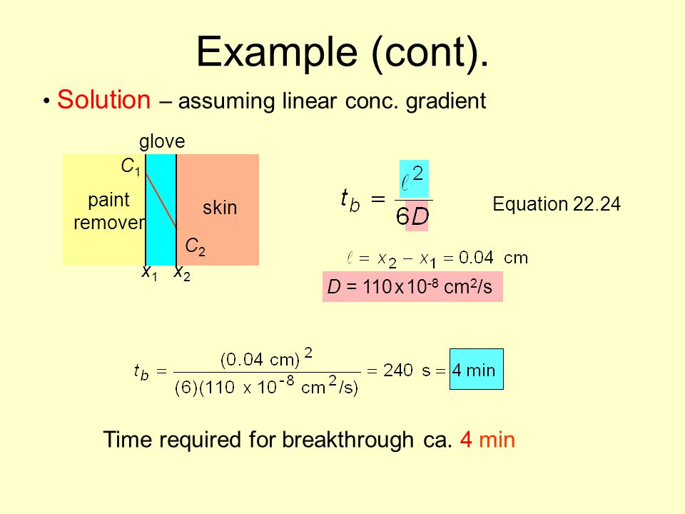 Example (cont). Solution – assuming linear conc. gradient