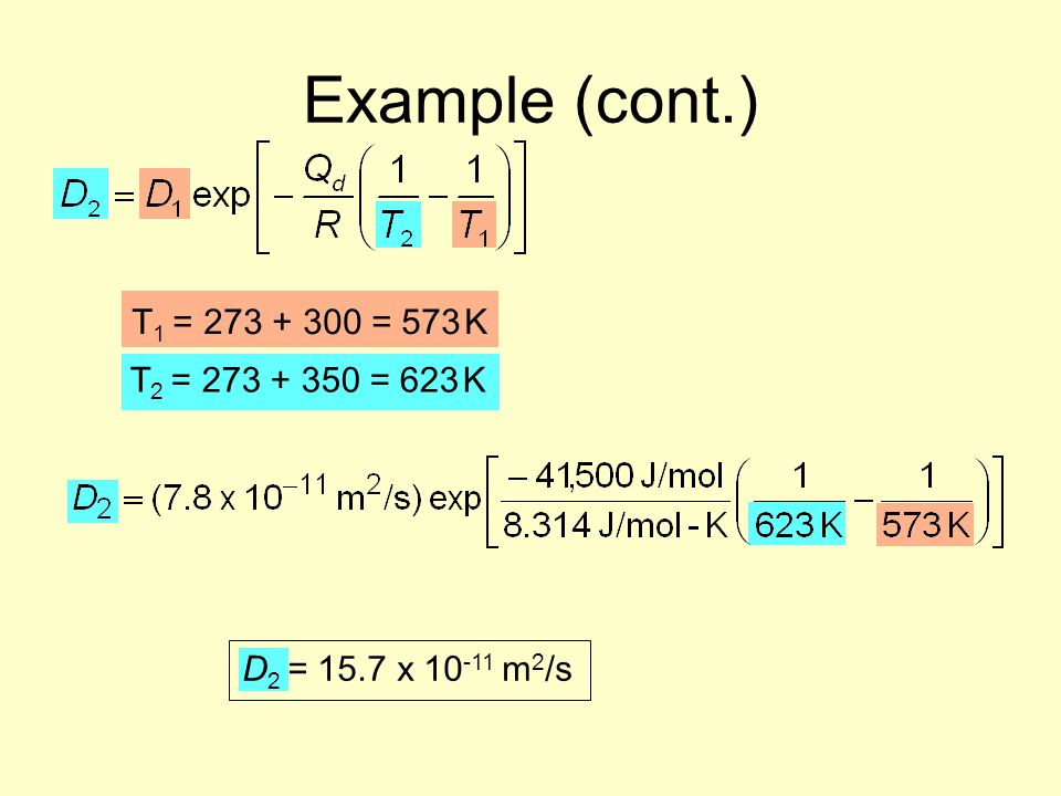 Example (cont.) T1 = 273 + 300 = 573 K T2 = 273 + 350 = 623 K