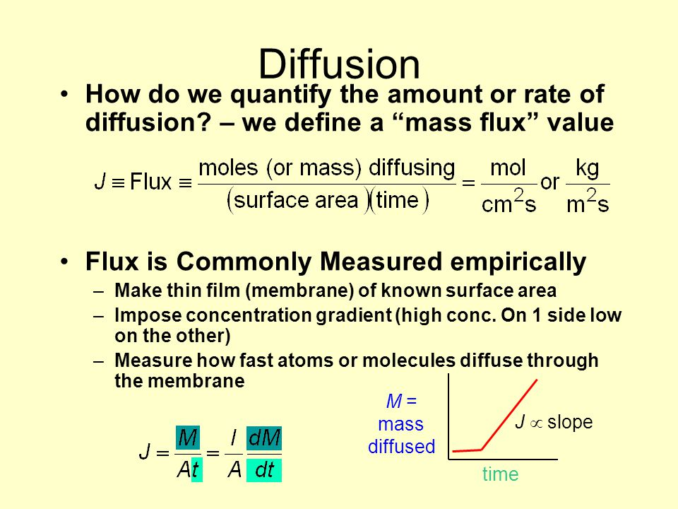 Diffusion How do we quantify the amount or rate of diffusion – we define a mass flux value. Flux is Commonly Measured empirically.