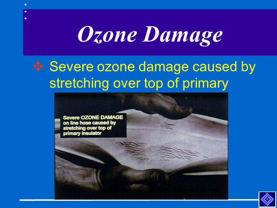 Ozone Damage Severe ozone damage caused by stretching over top of primary