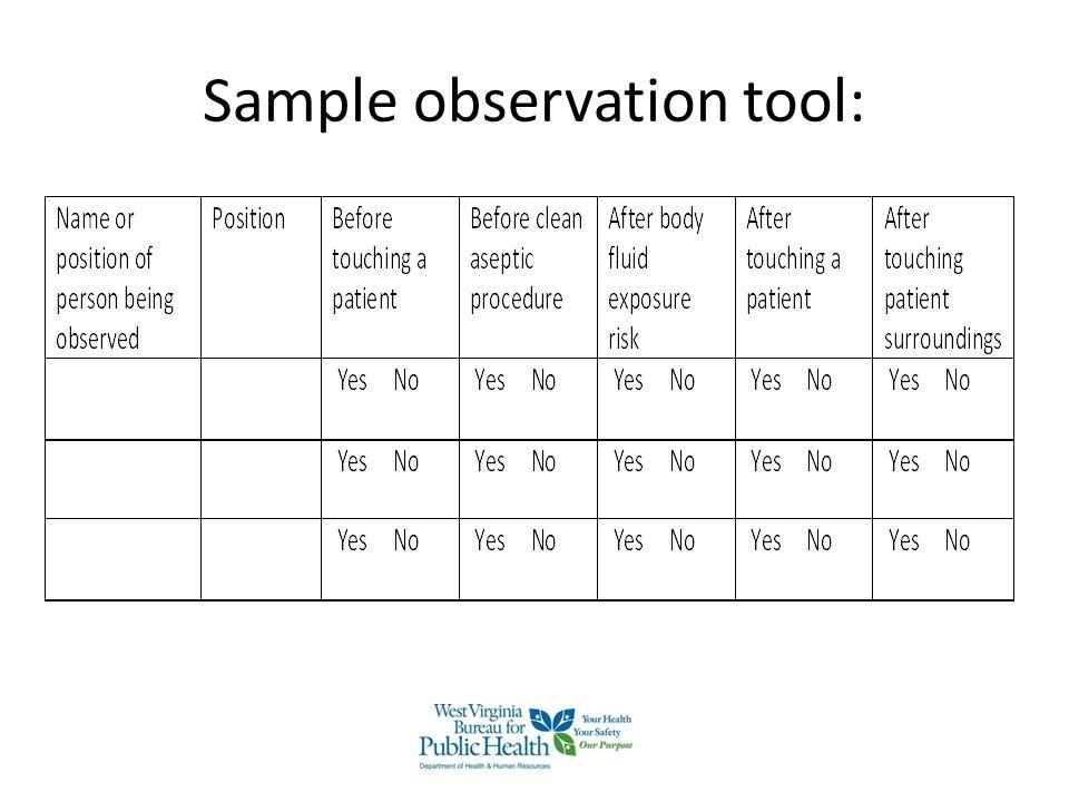 Sample observation tool: