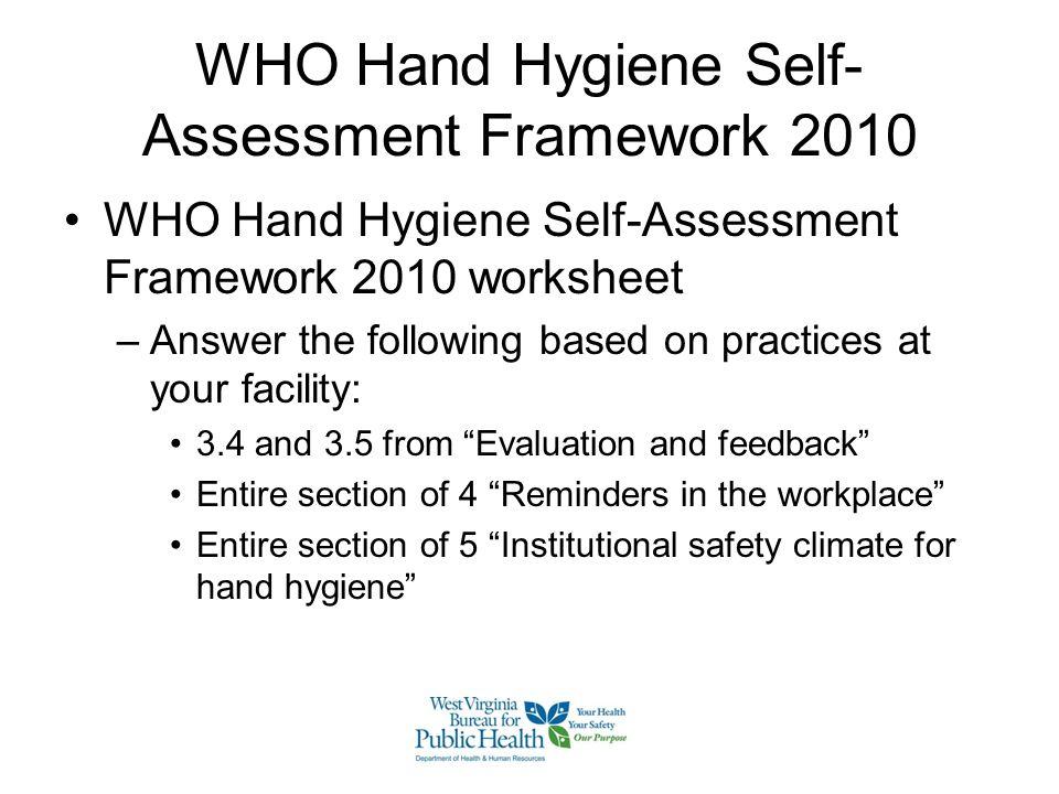 WHO Hand Hygiene Self-Assessment Framework 2010