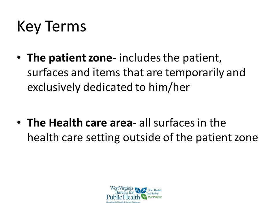 Key Terms The patient zone- includes the patient, surfaces and items that are temporarily and exclusively dedicated to him/her.