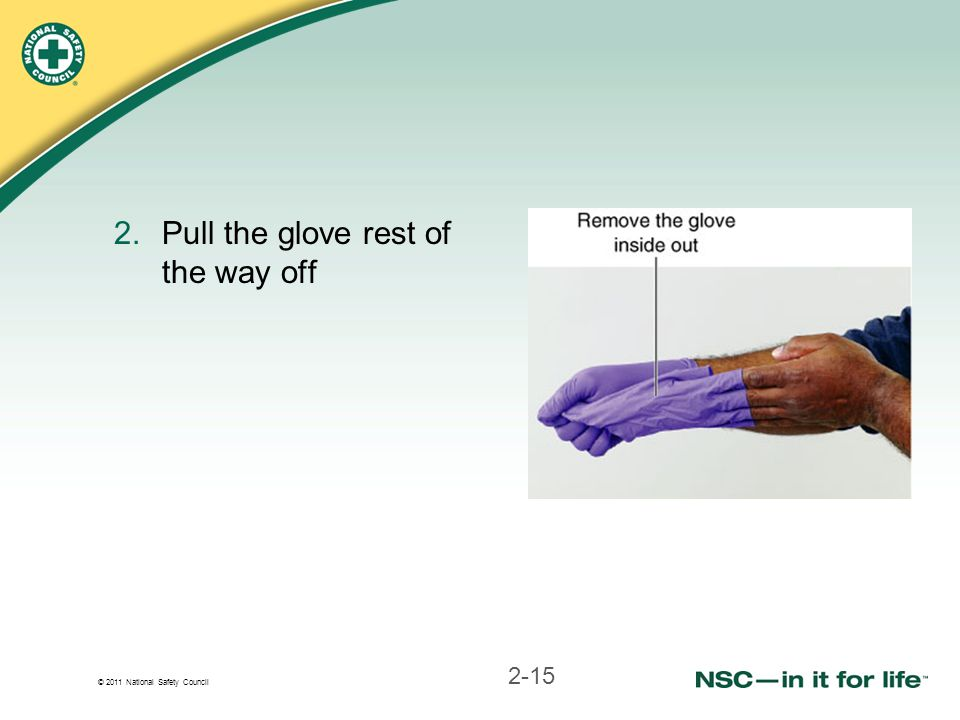 Pull the glove rest of the way off