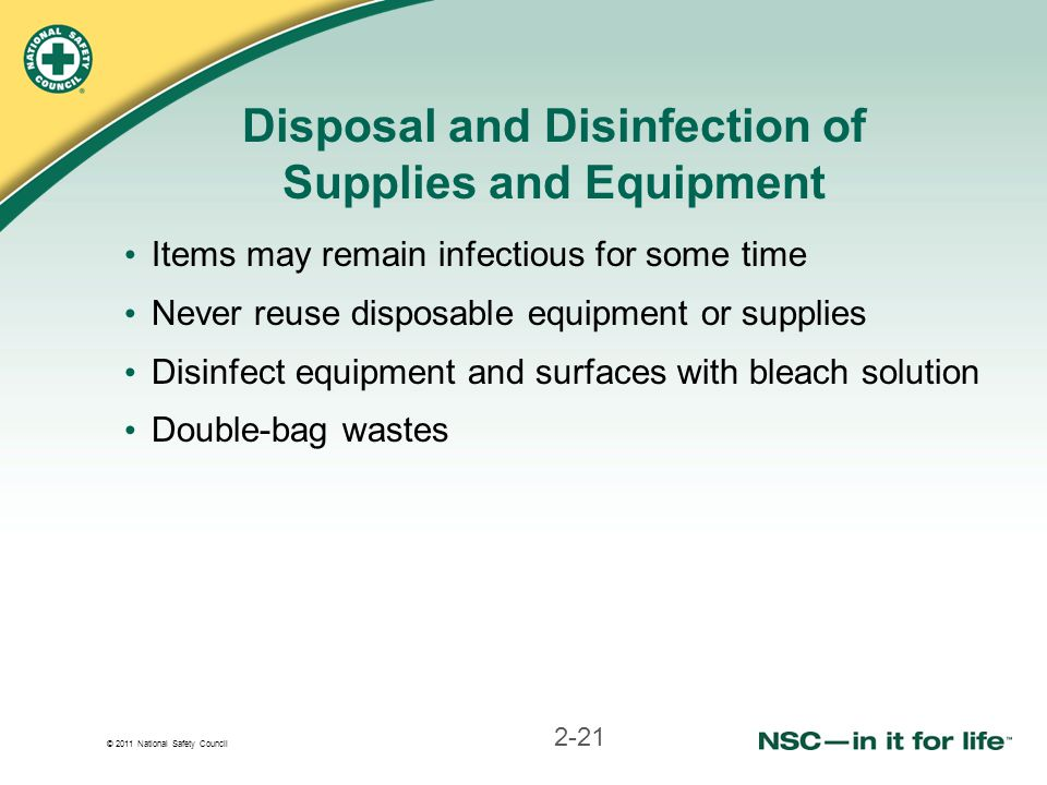Disposal and Disinfection of Supplies and Equipment