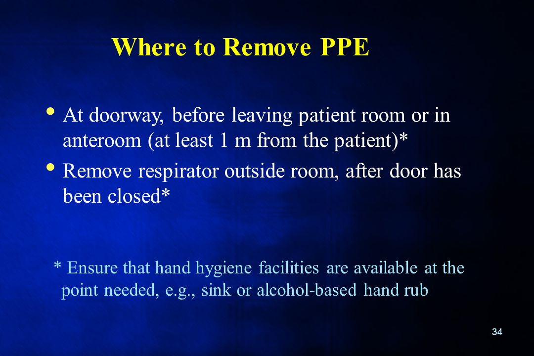 Where to Remove PPE At doorway, before leaving patient room or in anteroom (at least 1 m from the patient)*