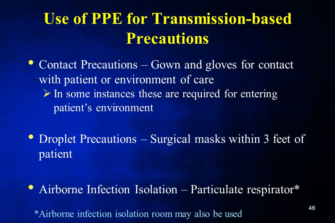 Use of PPE for Transmission-based Precautions