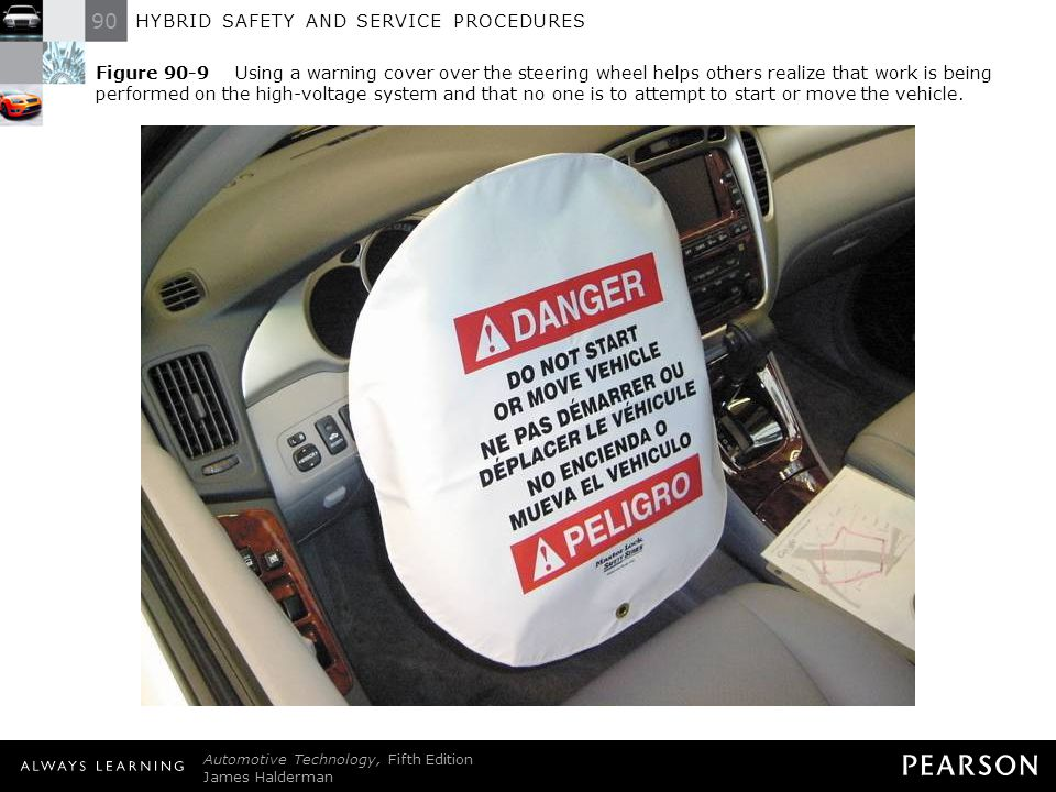 Figure 90-9 Using a warning cover over the steering wheel helps others realize that work is being performed on the high-voltage system and that no one is to attempt to start or move the vehicle.